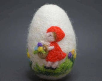 needle felted wool easter egg with red riding hood motif