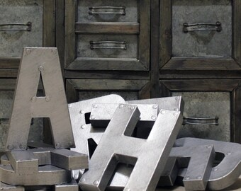 """Industrial Zinc Faux Metal Letters and Numbers - 8"""" or 12"""""""