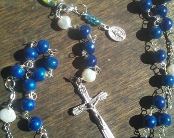 The Our Lady of Lourdes Rosary in Blue
