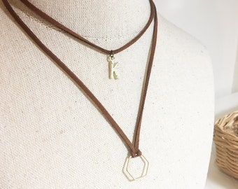 Brown or Black Wrap Initial Hexagon Choker, Adjustable Leather mahogany Suede Chocker, Double Necklace, Custom Letter and Honeycomb