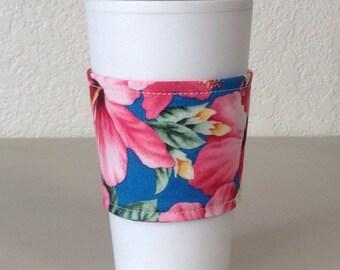 Coffee Cozy  - Pink and Yellow Hawaiian Flowers  (0806)