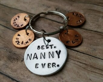 Nanny gift, thank you gift, best nanny ever, personalized penny keychains, babysitter gift, caregiver gift, custom stamped penny keychain