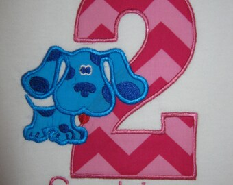 Personalized Blues Clues themed second Birthday Shirt Blue dog
