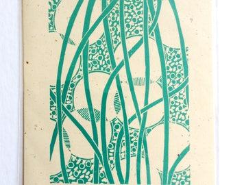 linocut - WEAVING II // 8x10  art print // printmaking // block print // turquoise // blue green // original art // line, pattern