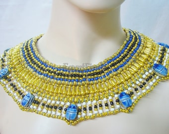 Egyptian Beaded Cleopatra 7 Scarabs Necklace Collar