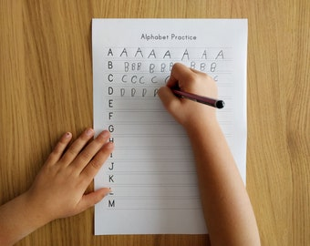 Kids Alphabet & Numbers Handwriting Practice for Letter paper, Back to School, home school printable, teacher resource, writing practice