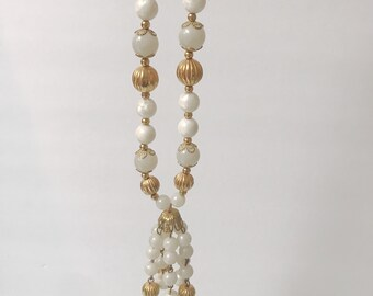 Vintage White Glass Bead Tassel Necklace