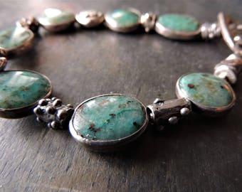 Artisan Jewelry, Silver Bezel Set Stones, Gem Silica Chrysocolla, Artisan Silver Slider Beads, Blue Bracelet, Urban Chic, Rare Gemstones