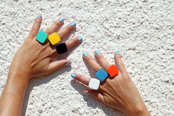 Colorful ring, choose your color resin ring, multicolor glass ring, big chunky square ring, color block jewelry, modern stainless steel ring