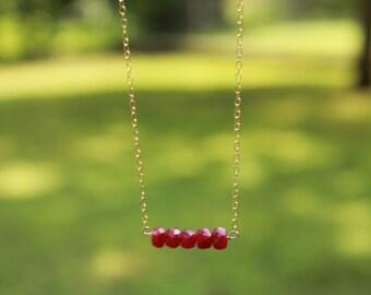 Genuine Ruby Bar Necklace, July Birthstone, Delicate, Genuine Ruby Necklace, Dainty Necklace, Layering Necklace, Gemstone Bar Necklace