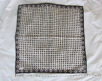 "Vintage Vera Scarf Black and White 26"" Square 100% Acetate  Op Art Made in Japan neumann 1960s 60s 70s 1970s"