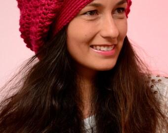 Fuchsia merino wool beanie hat, winter beanie hat, merino wool fall hat,  crochet beanie hat  - in stock