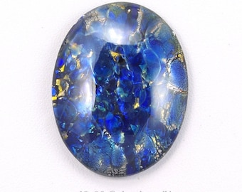 Large Blue Harlequin Czech Glass Cabochon 40x30mm - 1