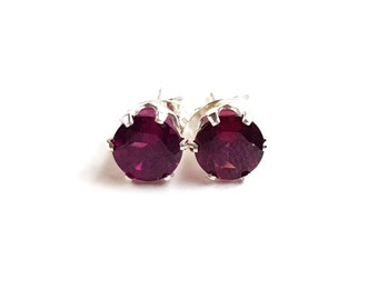 Rhodolite Garnet and Sterling Silver Stud Earrings