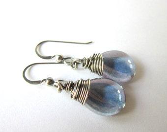 Purple Teardrop Earrings, Clear Purple Antiqued Silver Earrings