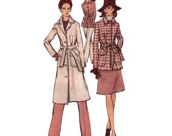 "Vogue 8009, sewing pattern, size 16 bust 38"" hips 40"" coat pattern, A-line coat, mid knee jacket pattern"