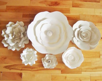 Set of 6 Paper Flowers - Paper Flowers for nursery | Paper Flowers | Paper Flower Backdrop | Paper Flower Wall | Paper Flower Wedding