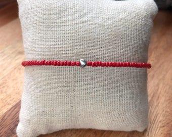 Tiny heart bracelet, dainty bracelet, simple bracelet, silver heart, red bracelet, friendship bracelet, stacking bracelet, red and silver