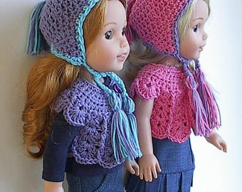 14.5 Inch Doll Clothes Crocheted Sweater Top and Earflap Hat Handmade to fit the Wellie Wishers and other similar dolls