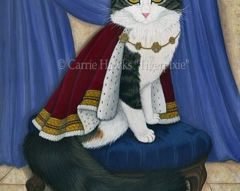 King Cat Painting Royal Cat Regal Cat Portrait Prince Anakin The Two Legged Cat Fantasy Cat Art Print 5x7 Cat Lovers Art