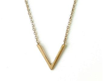 Collar triangle, pointe - gold-plated 750 millemes/18 carat - adjustable size - 750 gold plated triangle necklace
