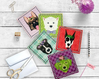 Luxe Dog Note Cards 5.25x5.25 Pearlescent cards and envelope