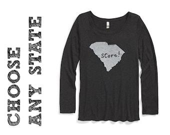 state graphic, state puns, long-sleeve women's t, state pride tshirt, screen print, silkscreen, stocking stuffer, gree shipping