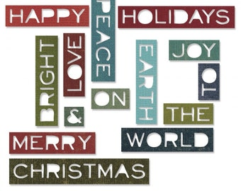Sizzix Tim Holtz Thinlits Die Set 14PK - Holiday Words #2: Thin 661601