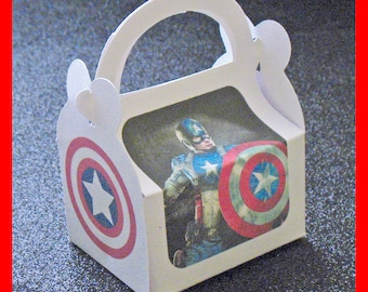 captain America party favor box, captain America birthday favor box, The First Avenger