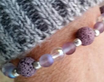 Lavendar Lava Bead Bracelet