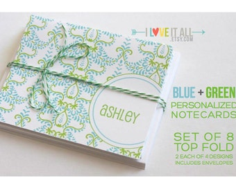 Preppy Personalized Monogram Note Card Stationery . Notecard Set of 8 Envelopes . Bridesmaid Wedding Shower Gift . Blue Green Gray Yellow