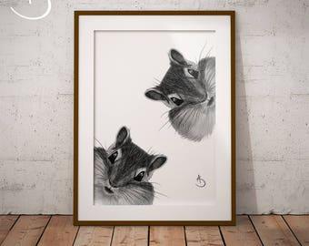 CUTE CURIOUS CHIPMUNK Drawing download, Curious Chipmunk Print, Printable Shipmunk Poster, Printable Decor, Curious Animals, Chipmunk Art