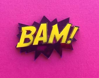 BAM! Brooch - Lasercut Acrylic, comic book inspired
