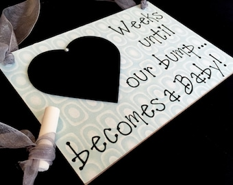 "Expecting Mom Gift, (Smokey Green) ""Weeks Until..Our Bump Becomes A Baby!"", Expecting Mom Chalkboard"