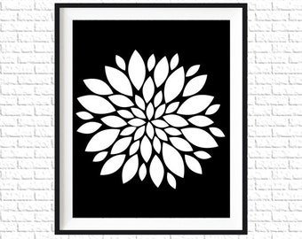 Floral Print | 8x10 Printable Art Print | Home Wall Art | Home Printable | Dahlia Subway Art |Instant Download Printable, Black, White