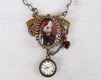 Alice im Wunderland, Wunderland, White Rabbit Halskette, weiße Kaninchen Wunderland, weiße Kaninchen-Anhänger, Kaninchen Schmuck, Alice Geschenk