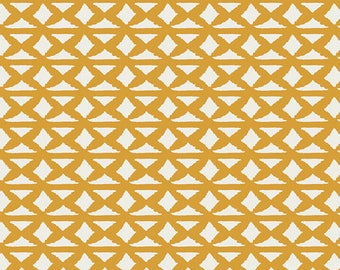 """Gold Fabric - Art Gallery """"Wallpaper Harvest"""" from Bound by April Rhodes. Gold Southwestern Geometric - 100% premium cotton. BOU-7049"""