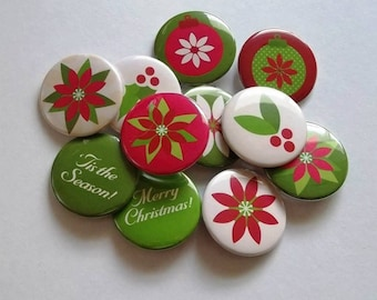 "Poinsettia 1.5"" Buttons set of 10)"