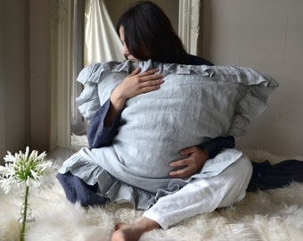 Light Grey Ruffled pillow case/ Stonewashed natural linen bedding. Shabby Chic Couture. Standard, King and Euro sizes