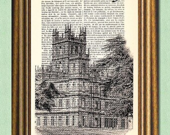 DOWNTON ABBEY MANSION - Dictionary Art Print - Upcycled Antique Book Page - Wall Art