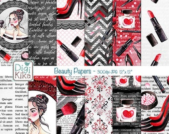 Beauty Digital Papers, Fashion Scrapbook Paper - Make Up Papers - lip stick Background - Watercolor - Planner Srtickers - INSTANT DOWNLOAD