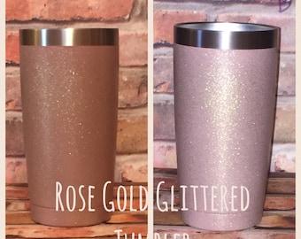 Rose Gold - Glittered Tumbler - 20oz - Ozark Trail - Yeti - Painted Stainless Steel - Gold Glitter - RTIC - 30oz
