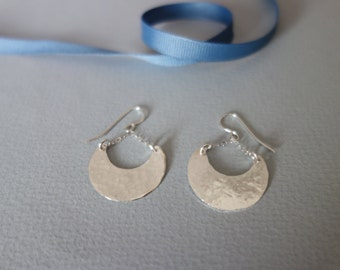 Hammered Silver Crescent Earrings