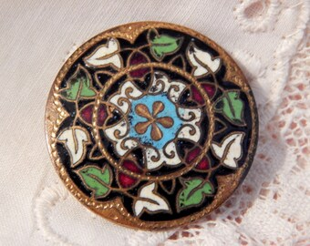 Multi Color Enamel Button with a Ring of Ivy