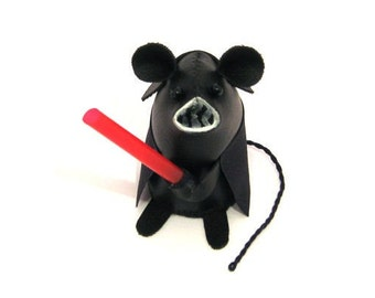 Darth Vader Mouse - Collectable Star Wars art rat artists mice felt mouse cute soft sculpture stuffed plush gift for husband boyfriend dad