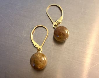 14kt Gold and Rutilated Quartz Earrings