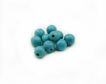 8mm Turquoise Beads, Turquoise Beads, Round Beads, Jewelry Making, DIY Craft Supplies, 10 pcs Turquoise Beads, Ball Beads