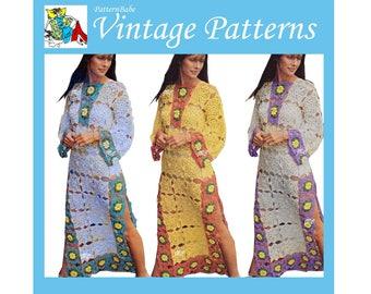 Summer Caftan Crochet Pattern Beach Dress Crochet Pattern Granny Square Pattern Granny Square Motif PDF DR602