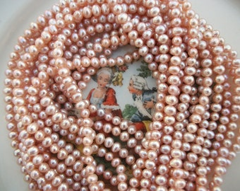 """Vintage Pink Champage Pearls ~ 5mm x 6mm 16"""" Strand Freshwater ~ AA+ Quality Natural Beauty"""