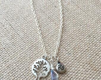 Raw Crystal Bracelet - Crystal Point Bracelet - Raw Crystal Charm Bracelet - Dainty Sterling Silver Charm Bracelet- Boho Bracelet